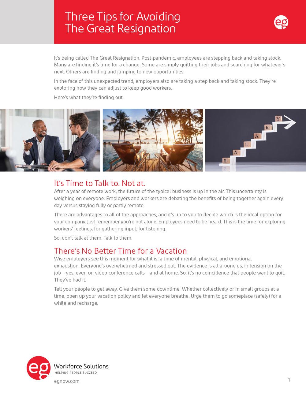 Three Tips for Avoiding The Great Resignation