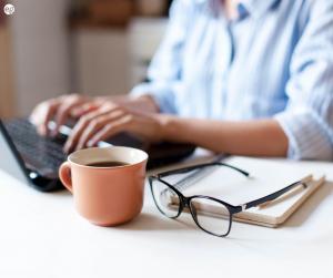 Women writing an online job description