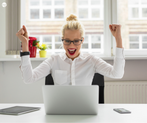 Woman happy while working