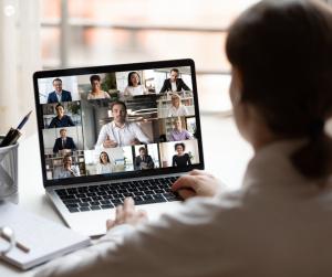Woman virtually networking