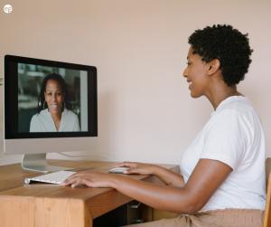 Afrian american women on a virtual interview