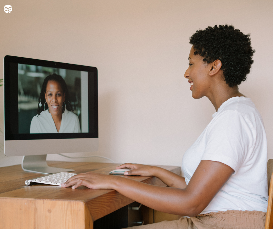 Afrian american women on a virtual interview
