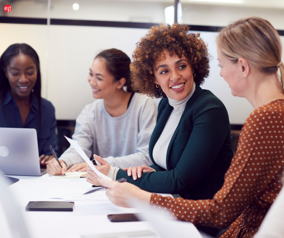 Group of diverse women working in an office