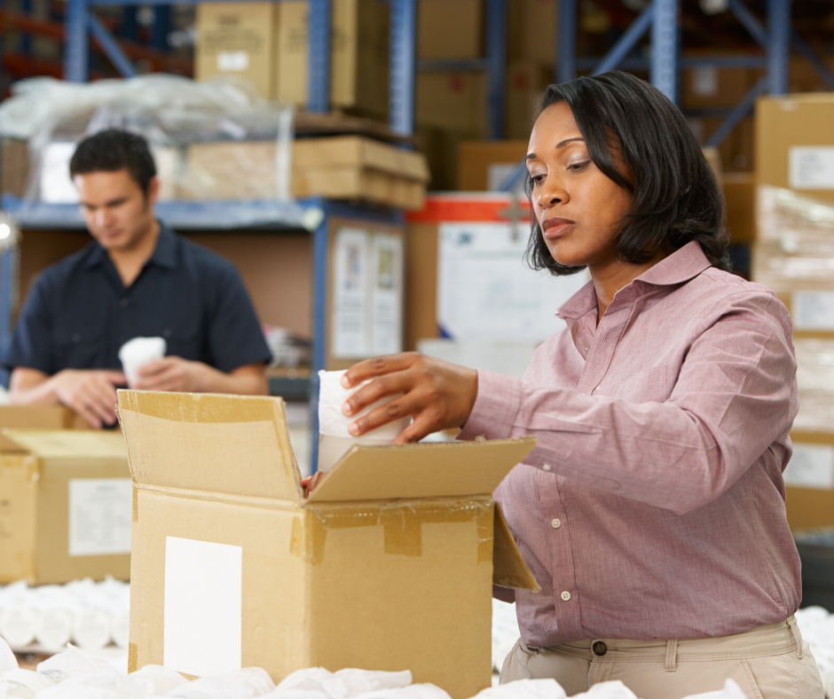 Woman working in shipping and receiving