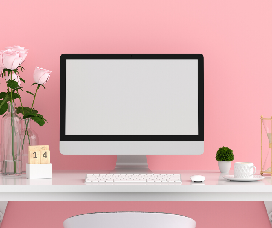 Pink background with desk