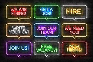 Neon hiring signs