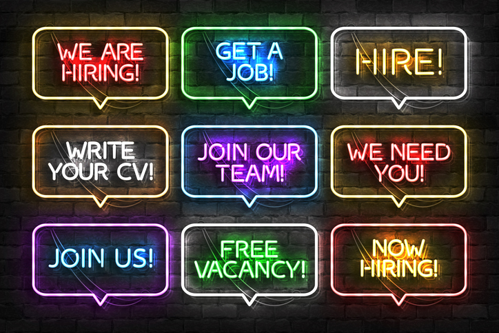 Neon hiring signs